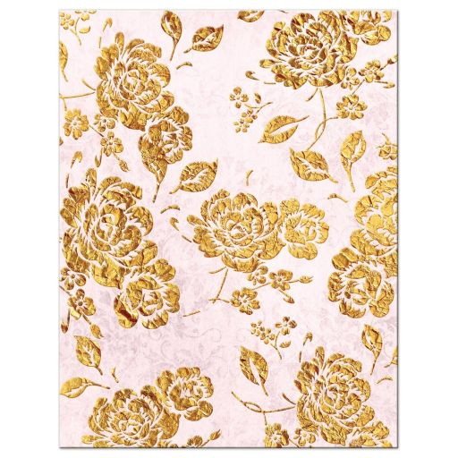 Vintage blush pink, ivory and gold floral wedding response cards with monogram and scroll.