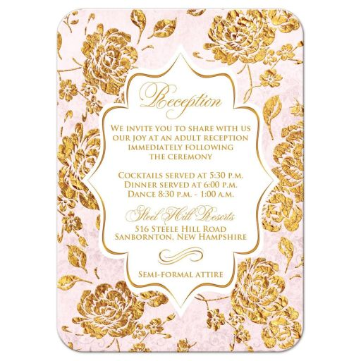 Vintage blush pink, ivory, and gold floral wedding reception enclosure cards with gold scroll.