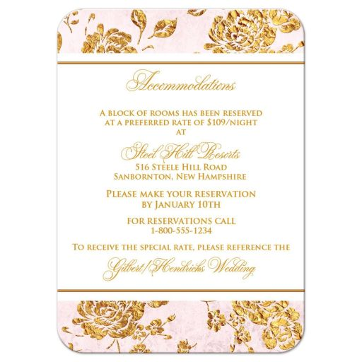 Vintage blush pink, ivory, and gold floral wedding reception cards with gold scroll.