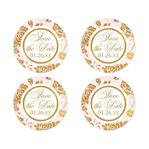 Custom vintage blush pink, ivory, and gold roses or peony floral wedding save the date stickers or envelope seals.