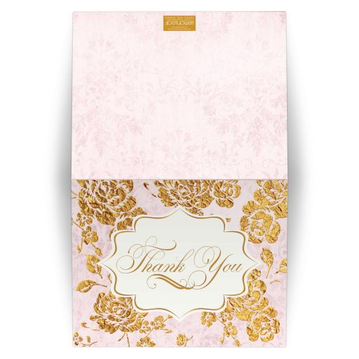 Vintage blush pink, ivory and gold floral wedding thank you card with roses, peonies and flourish.