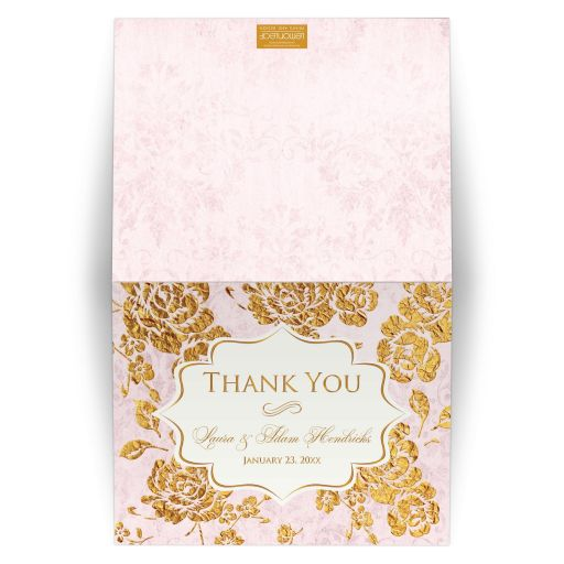 Personalized blush pink, ivory, and gold vintage floral wedding thank you card with monogram and photo template.