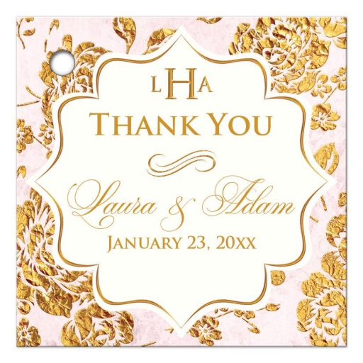 Personalized blush pink, ivory, and gold vintage floral wedding favor thank you tag with roses, peonies and flourish.