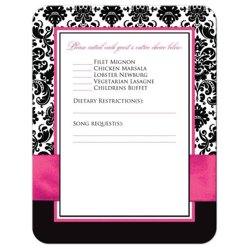 Fuchsia pink, black, and white damask pattern wedding RSVP cards with ribbon, bow, scroll, and jeweled joined hearts buckle brooch.