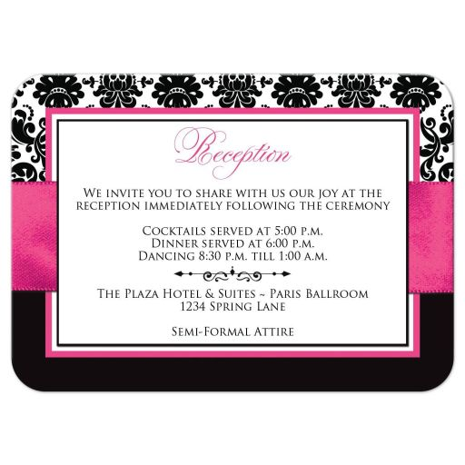 Fuchsia pink, black, and white damask pattern wedding reception enclosure card with ribbon, bow, scroll, and jeweled joined hearts buckle brooch.