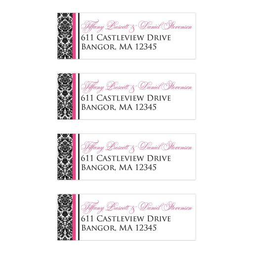 Personalized black and white damask pattern address labels with hot pink accents.