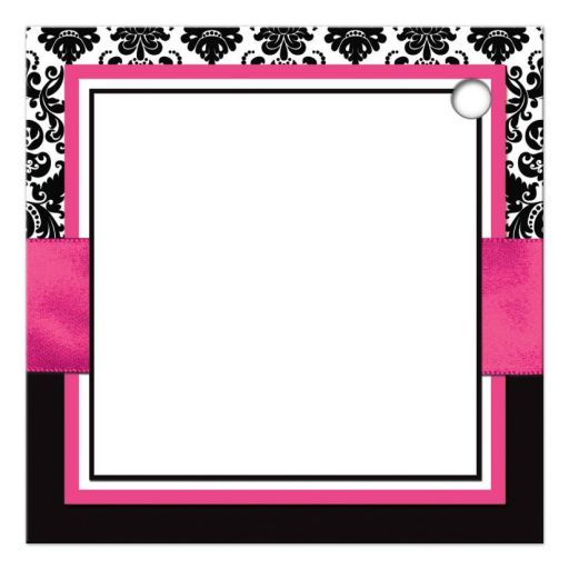 Fuchsia pink, black, and white damask pattern wedding favor thank you gift tag with ribbon, bow, scroll, and jeweled joined hearts buckle brooch.