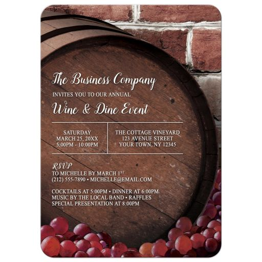 Wine and Dine Invitations - Rustic Wine Barrel Vineyard