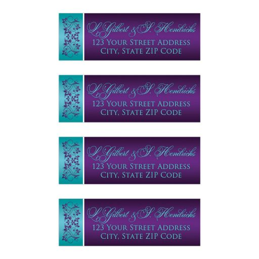 Customizable wedding return address mailing labels in aqua blue, teal, white and purple flowers.