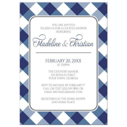 Couples Shower Invitations - Navy Blue Gingham White Gray