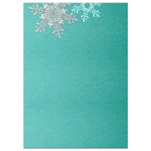 Turquoise, silver and white winter snowflake wedding invitation back