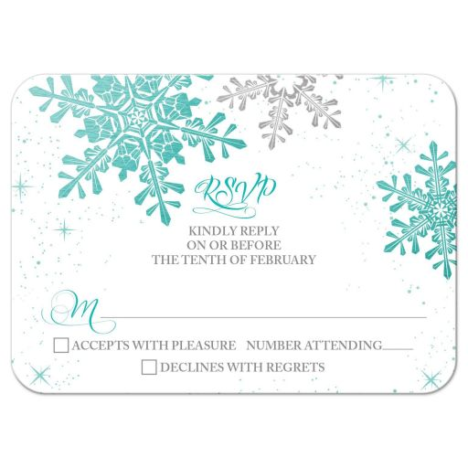 Turquoise, silver and white winter snowflake wedding RSVP reply card front