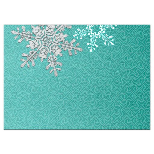 Turquoise, silver and white winter snowflake wedding RSVP reply card back