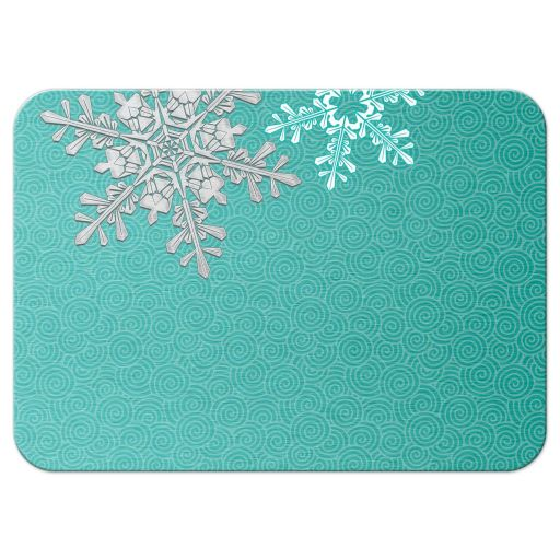 Turquoise, silver and white winter snowflake wedding reception enclosure card back