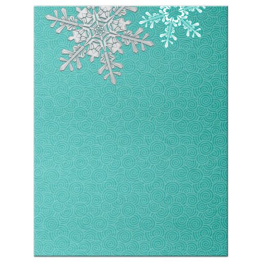 Turquoise, silver and white winter snowflake wedding save the date announcement back
