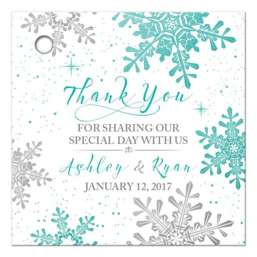 Turquoise, silver gray and white winter snowflake personalized wedding favor tags front