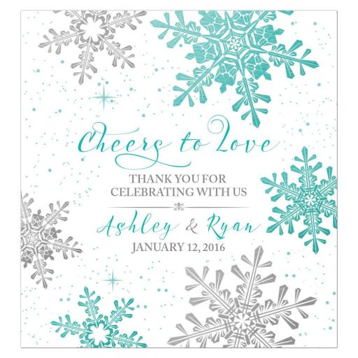Turquoise, silver gray and white winter snowflake personalized wedding wine bottle labels