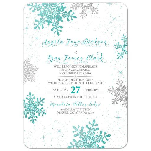 Turquoise, silver gray and white winter snowflake wedding reception only invitation front
