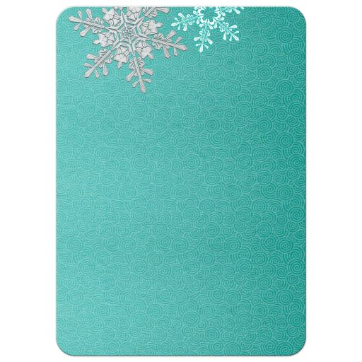 Turquoise, silver gray and white winter snowflake wedding reception only invitation back