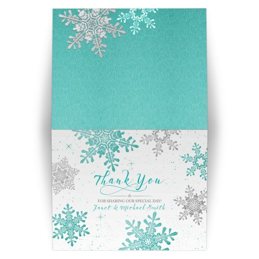 Turquoise, silver gray and white winter snowflake wedding thank you card