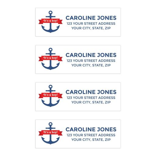 Nautical boy baby shower return address labels with blue anchor