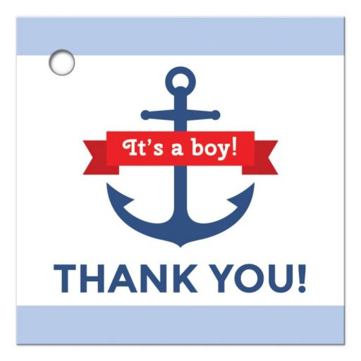 Nautical baby shower favor tag with blue anchor and light blue borders