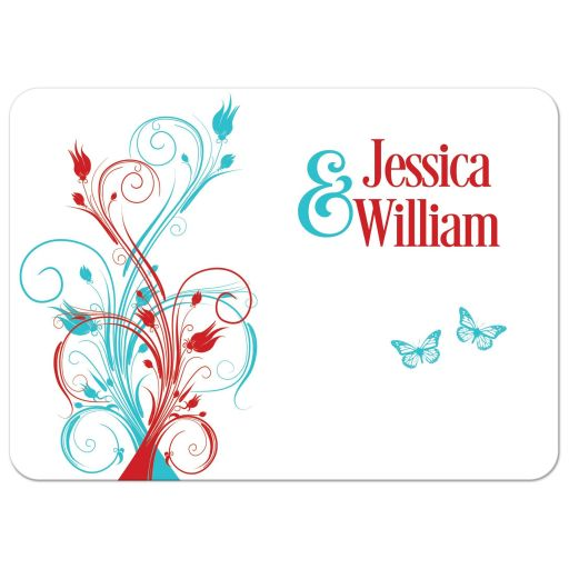 Red, turquoise blue, and white wedding invitation with butterflies, flowers, vines, and modern typography.
