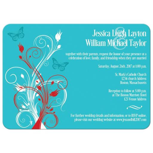 Red, aqua or teal blue, and white wedding invites with butterflies, flowers, vines, and modern typography.