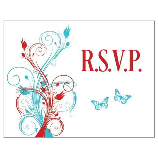 Turquoise, teal, or aqua blue, red, and white wedding RSVP postcard with butterflies, flowers, vines and modern typography.