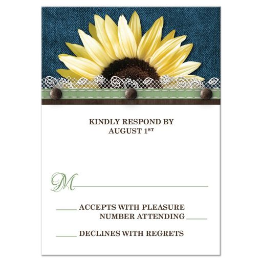 RSVP Reply Cards - Sunflower Denim Brown and Lace