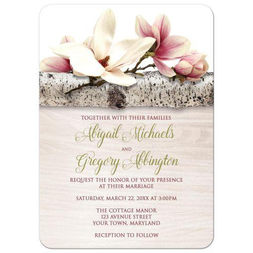 Wedding Invitations - Magnolia Birch - Light Wood Floral