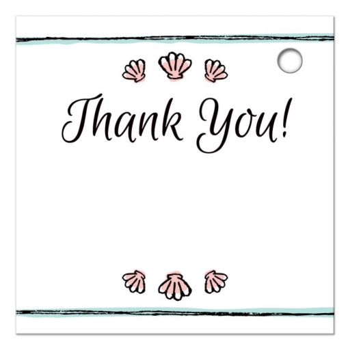peach colored clamshell seashells, back of the mermaid under the sea theme thank you tag