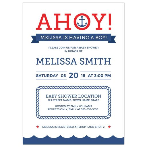 Ahoy nautical baby shower invitation with anchor and blue wave border.