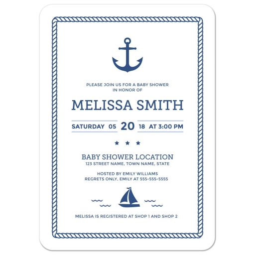 Elegant nautical baby shower invitation with anchor, ail boat and blue rope border.