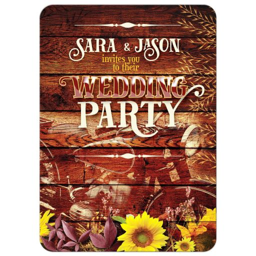 Vintage Motorbike Rustic Wedding Party Invitation