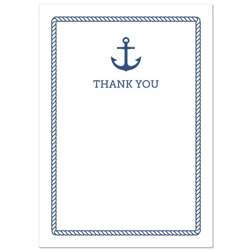 Elegant, nautical thank you card with blue anchor and rope border.