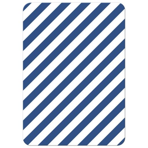 Blue and white, diagonal stripes. Back of modern nautical thank you card with anchor.