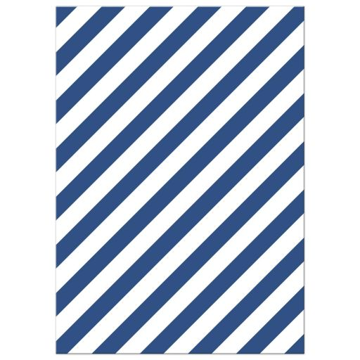 Diagonal blue striped pattern, back of nautical baby shower invite with anchor and sailboat