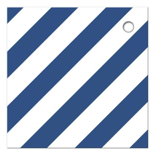 Diagonal blue stripes, back of nautical baby shower thank you tag with anchor.