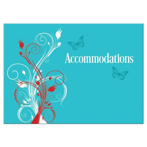Turquoise blue, red, and white wedding accommodations enclosure insert card with butterflies, flowers, vines, and modern typography.