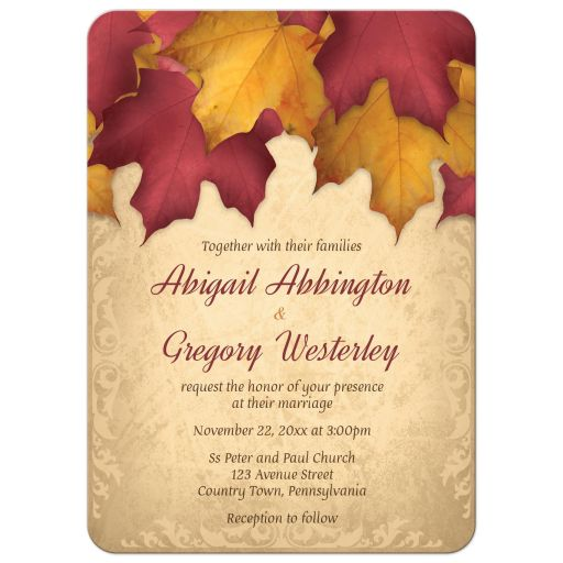 Wedding Invitations - Rustic Burgundy Gold Autumn Leaves
