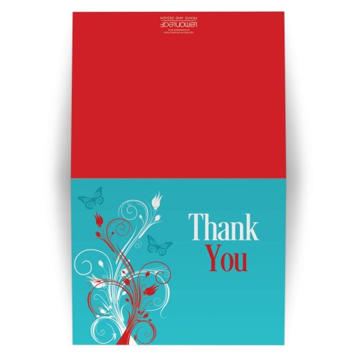 Red, turquoise blue, and white wedding thank you card with butterflies, flowers, vines, and modern typography.