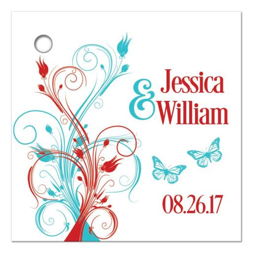 Personalized red, aqua blue, and white wedding favor thank you tags with butterflies, flowers, vines, and modern typography.