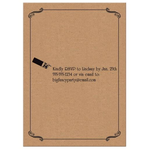 """Ate, Drank and Got Married"""" post-wedding reception invitation with hearts and scrolls in a vintage poster style on faux kraft paper."""