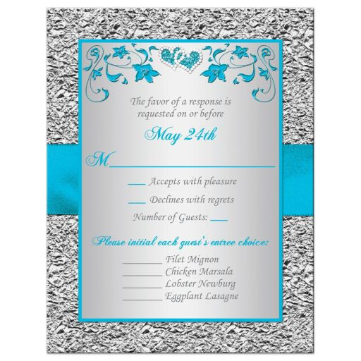 Turquoise blue and silver gray floral wedding RSVP cards with teal ribbon, bow, and glittery crystal jewels double hearts buckle brooch with silver foil border.