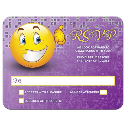 Purple and yellow social media smiley face emoticon emoji Bar Mitzvah RSVP card front