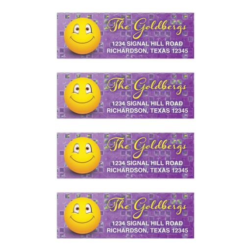 Purple and yellow social media smiley face emoticon emoji Bar Mitzvah address labels