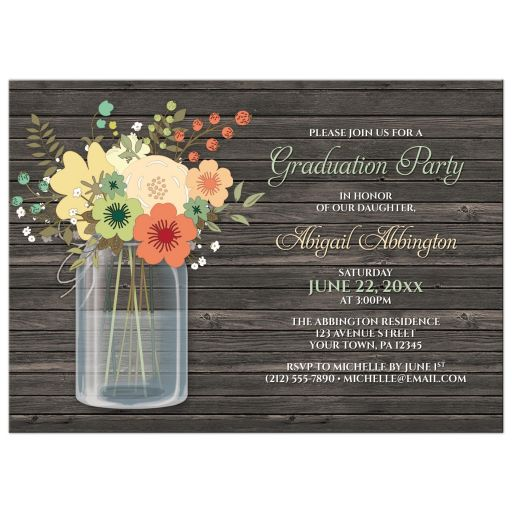 Graduation Party Invitations - Rustic Floral Wood Mason Jar