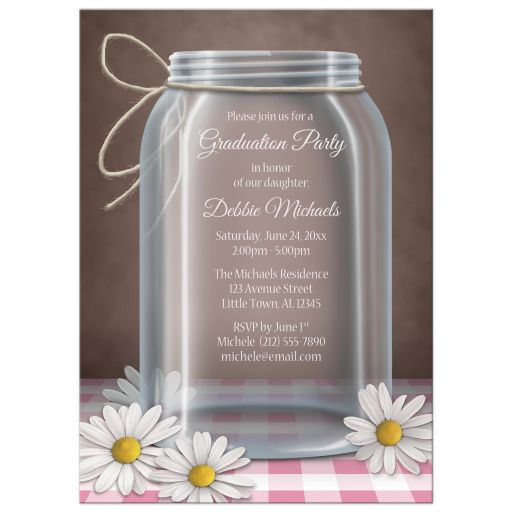Graduation Party Invitations - Rustic Mason Jar Daisy Pink Gingham
