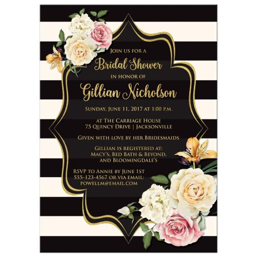 Black and ivory bold striped bridal shower, wedding shower or couples shower invitations with vintage cream, yellow, and pink roses, orange lilies and gold foil.
